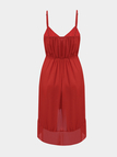 Red Sleeveless Strechable Waistband Chiffon Mini Dress