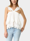 Layered Ruffled Design Lace Details Sleeveless Cami Top
