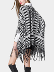 Geometrical Printing Knitted Cape with Tassel Details