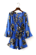 Blue Bohemian Floral Print Wrap Over V Neck Long Sleeve Playsuit