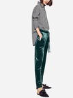 Green Velvet High-waist and Drawstring Waist Causal Pants