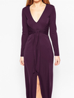 Plunge Knot Details Split Maxi Dress with Long Sleeves