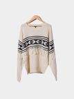 Geometric Printing Knitted Jumper with Tassel Details