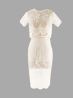 Sheer White Hollow Lace Two Piece Dress