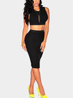 Black Back Cut Out Crop Top & Step Hem Midi Skirt Co-ord