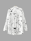 Ink And Wash Pattern Chiffon Loose Fit Shirt