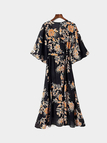 Floral Print Maxi Dress With 3/4 Length Sleeves