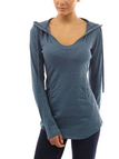 V-neck Hoodie with Front Pocket in Light Blue