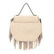Octagon Leather-look Knotted Fringe Flap Top Handle Bag in Beige