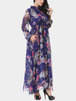 Plus Size Long Sleeves Floral Printing Maxi Dress with Stretch Waistband