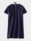 Navy Blue Shirt Dress with Short Sleeves