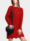 Cutout Sweater Dress in Red