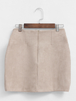 Beige Suede Lace-up Design Mini Skirt with Back Zipper