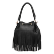 Black Drawstring Leather Look Bucket Bag With Tassels