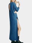 Blue Cutout Back Long Sweater Dress With Splits