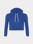 Plain Royal Blue Color Double Straps Front Hooded Crop Sweater