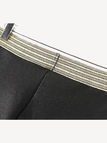 Stitching Leather Look Leggings with Stretch Waistband