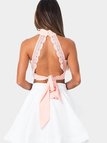 Pink High Neck Cut Out Self-tie Bralet with Lace Details