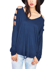 Blue V-neck Long Sleeves Shirt with Cut Out Details
