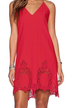 Red Hollow Out Cami Dress with Open Back