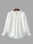 Tie-neck High-low Hem Blouse in White