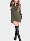 Olive Green Long Sleeve Shirt Dress with Step Hem