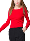 Red Round Collar Long Sleeve Skinny Jumper