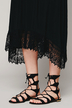 Black Cami Maxi Dress with Asymmetric Crochet Lace Hem