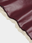 Burgundy Leather Skater Skirt with Lace Hem