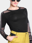 Black Voile Splicing Knitted Sweater