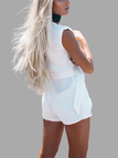 White Plunge Neckline Self-tie Playsuit
