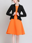 Belted Blazer with Curved Hem