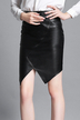 Leather Look Bag Hip Skirt with Irregular Hem