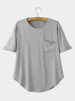 Gray Short Sleeve Round neckline T-shirt with Pocket