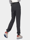 Deep Grey Plus Velvet Elastic Waist Casual Trousers