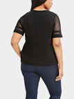 Plus Size Black Mesh Stitching Sleeve T-shirt