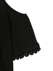 Black Cold Shoulder Round Neck T-shirt with 1/2 Length Sleeves