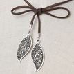 Brown Velvet Ribbon Hollow Leaves Pendant Long Necklace