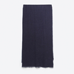 Shawl Scarf in Navy Blue with Frayed Edges
