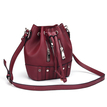 Drawstring Bucket Bag in Red with Zips
