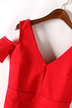 V-neck Cold Shoulder Mini Dress in Red