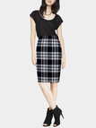 Pencil Midi Skirt in Check
