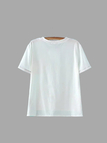 Casual White Round Neck T-shirt with Buttons
