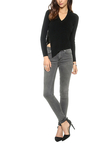 Black Asymmetric Stitching V-neck Knit Top