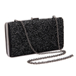 Sparkle Occasion Box Clutch Bag with Black Sequin Front