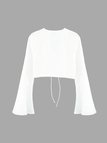 Lace-up Flared Sleeves Crop Top in White