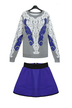 Plus Size Embroidered Knitted Jumper & A-line Skirt Co-ords