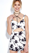 Pastoral Palm Tree Print Playsuit with Cut Out Detail