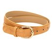 Leather-look Skinny Waist Belt with Engraved Buckle in Camel