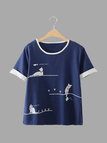 Blue Animal Pattern Front Round Neck T-shirt